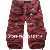 2014 new  korean style washed military uniform shorts men Multi-pocket cargo shorts for men loose Cropped shorts,28-38,