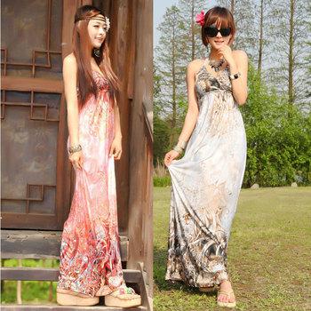2014 Bohemian Dress Print Color National Flower Type Summer Maxi Dress For Women Beach Discount Cheap Clothes Beach Skirt
