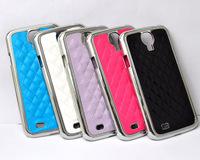 Leather Chrome Hard Case For Samsung GALAXY S4 i9500 Optional Blue White Violet Rose Black