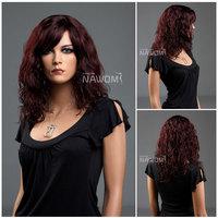 "18"" Fashion Medium Long Burgundy Ladies' wigs EU wigs High Quality 100% KANEKALON Synthtic hair wigs  W3420"