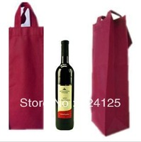 Free shipping wholesale 50pieces/lots luxury non-woven fabric bag, gift red wine bag,wedding party wine bottle gift bags