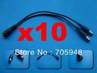 wholesale freeshipping lot 10pcs DC 5.5mm X 2.1mm 5.5mm 2.1mm CCTV Camera 2-way Power Splitter Female to 2 Male cable CABLES
