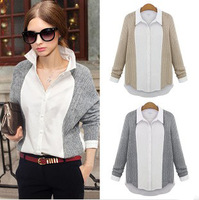2013 NEW, irregular hem plus size loose style chiffon ladies blouse top