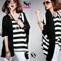 Summer street all-match black and white horizontal stripe irregular sweep loose plus size t-shirt female cotton
