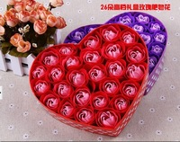 2013 New Gift Free shipping 26 rose soap flower color box gift box personalized small gift bountyless