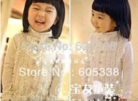 2014 Wholesale Girl's Shirt 5pcs/lot size 90-130 autumn solid color chiffon patchwork stand collar basic shirt