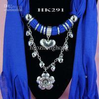 Drop shipping - flower heart pendant scarf chain jewelry necklaces women fringe jewellery scarves 1PCS HK291
