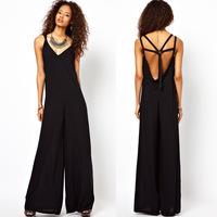 back deep V-neck cutout shoulder strap trouser black long jumpsuit