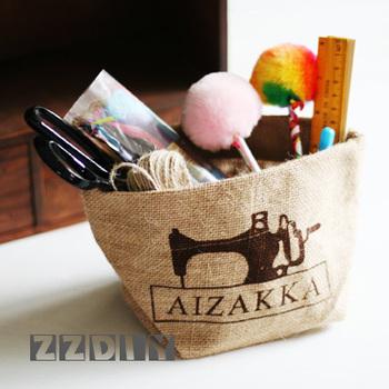 Zakka vintage sewing machine Small pure hemp storage bag sewing kit sewing tools grocery bag diy