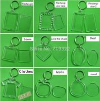 Wholesale - free shipping :acrylic blank photo keychain keyring,diy yourself photo keychain,12 kinds pattern