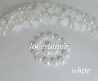 Free Shipping! 2000pcs/bag White 5mm Half Balls Round Flatback Pearls Scrapbooking Beads Decoration DIY