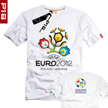 Memorial short-sleeve shirt european cup t-shirt male Women football cup short-sleeve T-shirt fans white