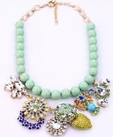 COL048 2014 New Wholesale big heavy Flowers Necklaces false collar maxi colar acessorios atacado topshop