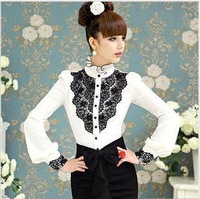 S-XL free shipping fashion elegant OL sweet women's white black lace lotus leaf stand collar puff sleeve shirt blouse