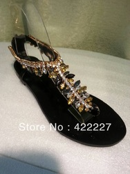 2013 new products designer shoes crystal strass rhinestone evening party flats gz lady sandals brand new flat sandals flip flops(China (Mainland))