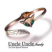 18K Rose Gold Plated Green Eyes Rhinestones Inlaid Luxury Fox Design Lady Bracelet Bangle Wholesale