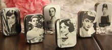 6pcs/lot, Audrey Hepburn Printing Mini Iron Box,Storage Box, Jewelry Box, Medicine box,Candy Case Size:6.5×4.5x2cm