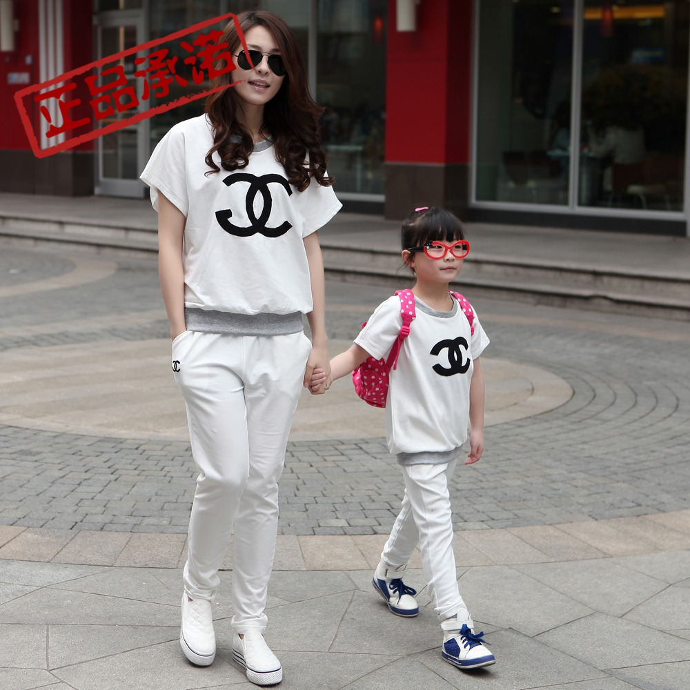 Free shipping 2013 summer fashion family clothes/mother of women/ female and daughter casual short sleeve sports suit sportswear(China (Mainland))