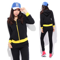 Spring and autumn casual sportswear set women's loose cardigan thickening with a hood sweatshirt
