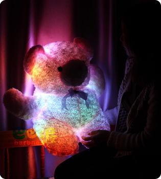 Free Shipping Flashing Teddy Bear Plush Toys 7 Colors Flashing Randomly Best Wedding Gift Christmas Birthday Valentine Gift
