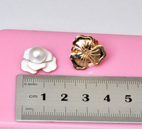 16MM Alloy Components White Flower  With Pearl For DIY jewelry Accessories  fitting Cell Phone Case Ornaments bijouterie