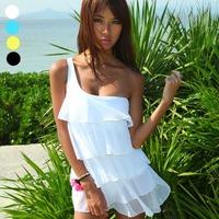Tripe female skirt swimwear one piece swimsuit plus size plus size