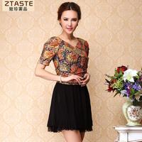 Ztaste13 summer chiffon lace patchwork one-piece dress fashion plus size clothing faux two piece skirt set