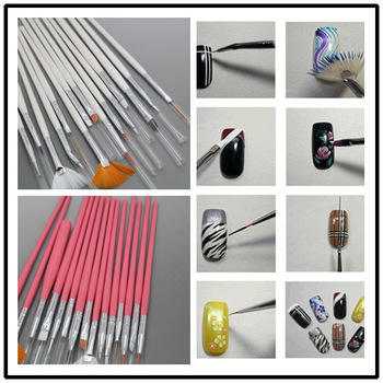 White/pink to choose 10set/lot 15pcst  Nail Art Design Brushes Gel Set Painting Draw Pen Polish Nail art tools set