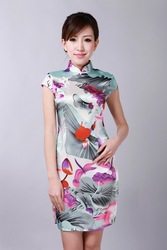 2012 summer new silk beautiful women cheongsam mini short dress Slim models Chinese cheongsam dress(China (Mainland))
