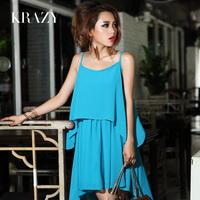 Krazy2013 spring women's elegant solid color spaghetti strap elegant chiffon one-piece dress 397