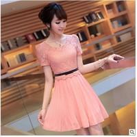 Summer dress still pure 2013 new Korean cultivating large code temperament Lace Chiffon Dress Dress