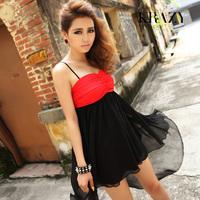 Fashion women's krazy2013 spaghetti strap colorant match ruffle sexy chiffon one-piece dress 352