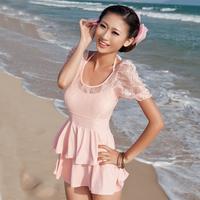 Grebe one-piece dress hot spring swimwear small push up plus size swimwear female swimsuits 13809