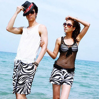 2012 beach pants beach lovers clothes lovers beach pants zebra print male Women
