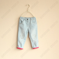 2013 New arrival girls  love pattern jeans children  jeans fashionable High quality nice 5pcs/lot