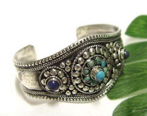 Tibet Style Silver Inlay Lazuli/Turquoise Jewelry Bracelet Cuff(China (Mainland))