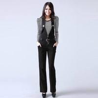2013 women's spring black ol straight pants jumpsuit trousers all-match bib pants