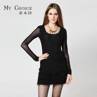 Spring gauze basic shirt o-neck long-sleeve T-shirt female black slim basic top