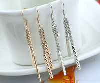 Nickel free Wholesale jewelry 18K Gold plated Rhinestone Tassel Dangle Earrings Free Shipping