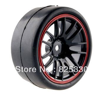 4pcs RC Flat Racing Tires Tyre Wheel Rim Fit HSP HPI 1:10 On-Road Car 9068 6018