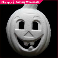Free Shipping (12pcs/lot) Halloween Pumpkin Masks Unpainted White Paper Party Masks for DIY Hand-painted