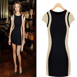 NEW Women's Optical Illusion Contrast Slimming Bodycon Fitted Black Celeb Dress Lady Party dresses Fashion Hot Sale WN(China (Mainland))