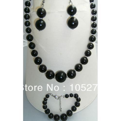 Lovely Shell Pearl Jewelry Set 4-14mm Black Color Faux Pearl 18&#39;&#39; Necklace 8&#39;&#39; Bracelet 925 Silver Dangle Earrings Free Shipping(China (Mainland))
