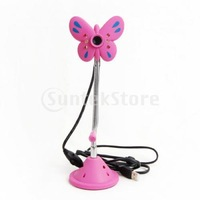 Free Shipping 3.0M Pixel USB 6 LED PC Camera Mic Webcam for Laptop -Pink Butterfly Shape