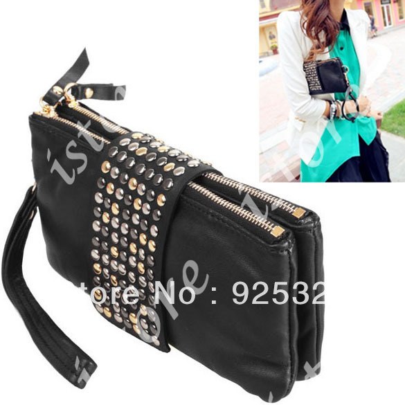 5pcs/lot Korean Style PU Leather fashion Handbag designer Rivet Lady wallet Clutch Purse Evening Bag Purse 4004(China (Mainland))