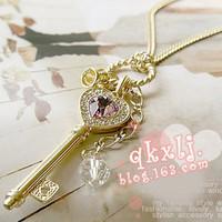 5pcs/lot 2014 hot women's fashion amethyst love gold key necklace A0098