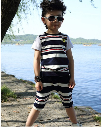 New arrival 2013 cool baby boy suit set boys outfit toddler boy stripes summer clothes 2 piece t shirt and pants 4sets/lot(China (Mainland))