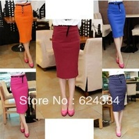 Hot sale Drop Shipping 2013 spring summer new women's candy color stretch Slim fit high waist Polka Dot Skirt Drop Belt