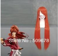 Free Shipping  80cm X Long Rurouni Kenshin-HIMURA KENSHIN Orange Japanese  Red Anime Cosplay wig COS-036I