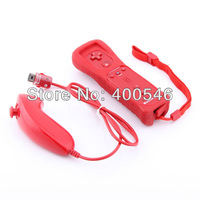 Free shipping For wiiu/wii Remote and Nunchuck with Motion Plus Controller(Red)